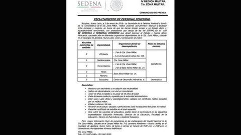 Sedena lanza convocatoria de empleo para mujeres en Nuevo León