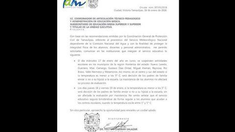 Se suspenden clases en la frontera de Tamaulipas por helada