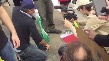 Simpatizante de Trump rompe bandera de México e intenta quemarla