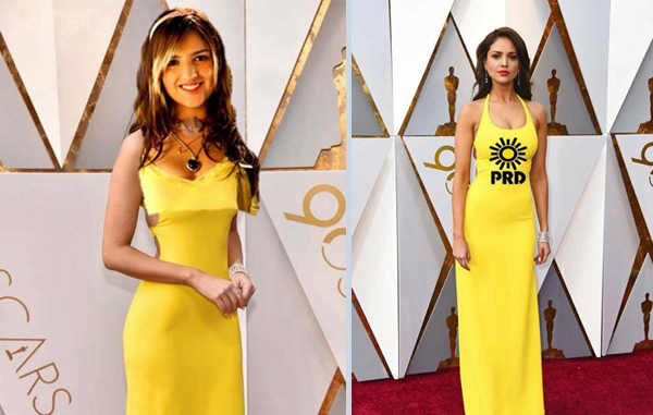 Mujer con vestido amarillo meme