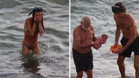 Captan a turista rusa dando a luz en el mar Rojo (FOTOS)
