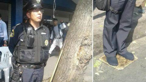 Imagen de policía descalzo se vuelve viral en redes