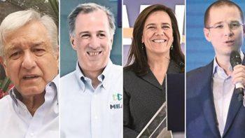Presidenciables esconden logos de los partidos