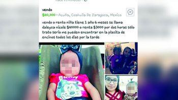 Madre ofrece a su bebé en 40 mil pesos por Facebook