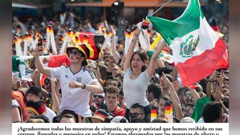Alemania envía mensaje de agradecimiento a mexicanos