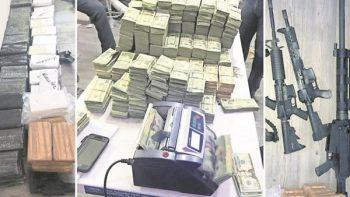 Decomisan 1.8 mdd, armas y cocaína en Matamoros