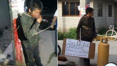 Retienen y amarran a sujetos acusados de robo en Hidalgo