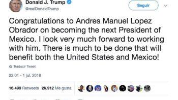Donald Trump felicita a López Obrador