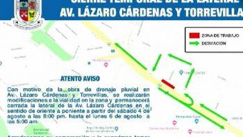 Cierre de carril en Lázaro Cárdenas y Torrevillas por arreglos pluviales