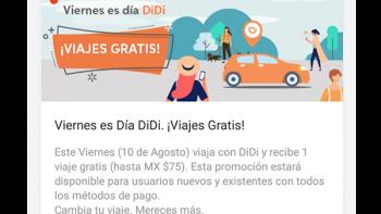 DiDi ofrece a Monterrey el primer viernes de 'viajes gratis'