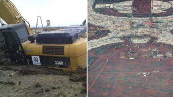 Polémica por foto de hundimiento de excavadora en Nuevo Aeropuerto