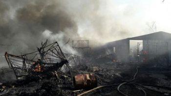 Se incendian bodegas de empresa recicladora en Pesquería, Nuevo León