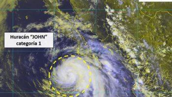 Huracán 'John' se degrada a categoría 1; provoca lluvias intensas