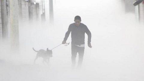 Hombre rescata a su perro en medio de nube de gas en Puebla