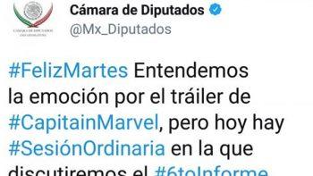 Con alusión a 'Capitana Marvel' llaman a ver sesión en Diputados