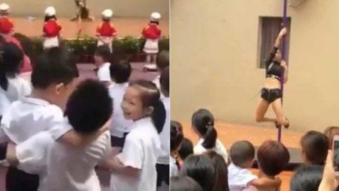 Con show de pole dance dan bienvenida a alumnos de kinder (VIDEO)