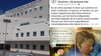 Entregan cadáver de bebé en estado de descomposición en hospital de Tampico