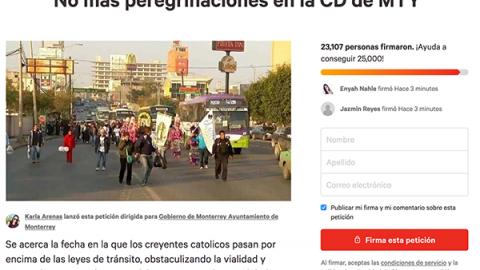 Más de 23 mil apoyan prohibición de peregrinaciones en Monterrey