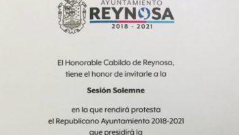 Invita Cabildo de Reynosa a Toma de Protesta del R. Ayuntamiento 2018-2021