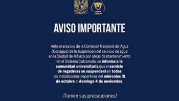 Deportes UNAM suspende servicio de regaderas por recorte de agua