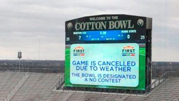 Cancelan el Cotton Bowl por primera vez, debido al mal clima