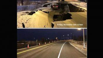 En tan sólo cuatro días reparan autopista deshecha tras sismo en Alaska
