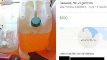 Venden gasolina en Facebook hasta en 700 pesos la garrafa