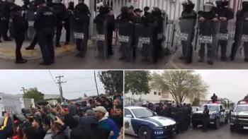 Trabajadores de maquiladora y policías se enfrentan en Tamaulipas