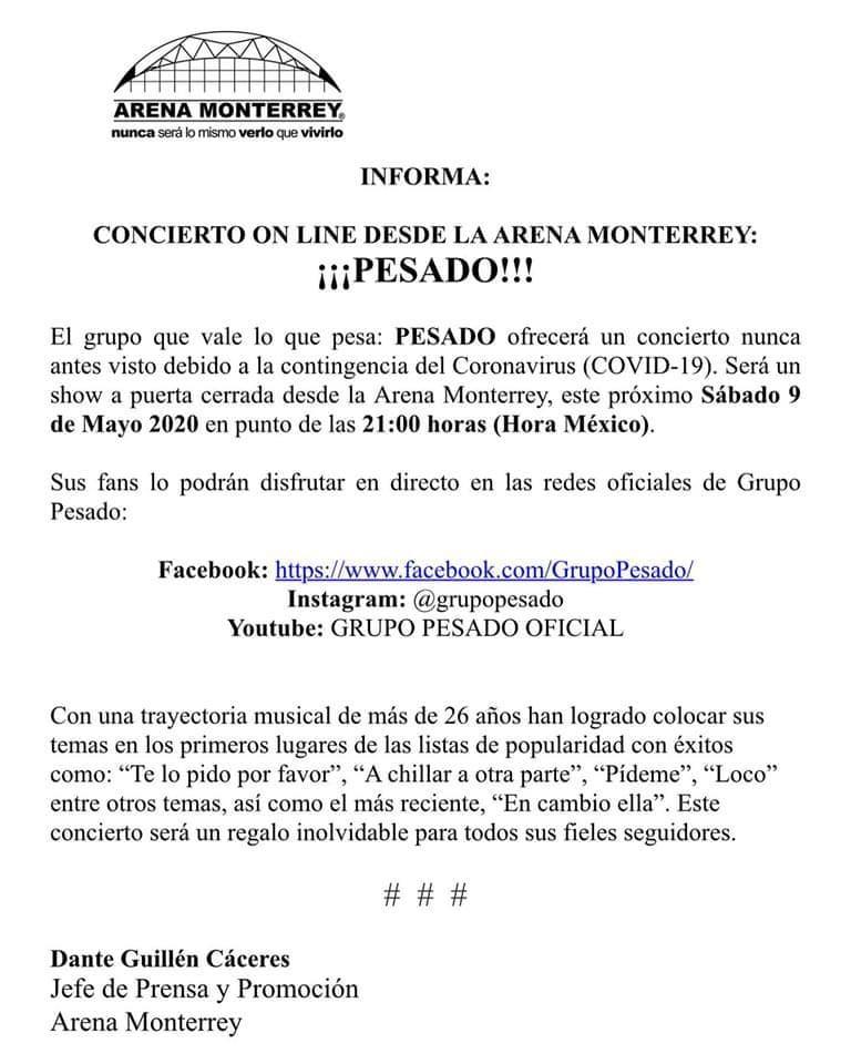 Comunicado Arena Monterrey Pesado